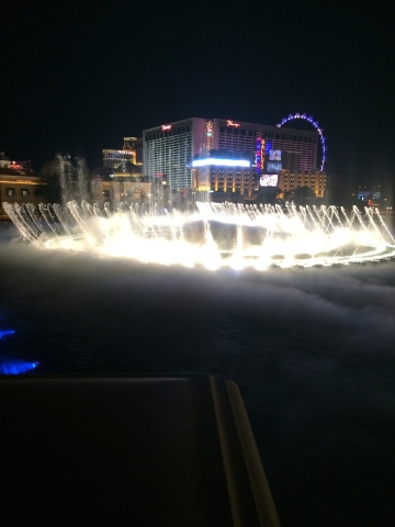 The dancing fountain at the Bellagio. Photo credit: nishaksquared