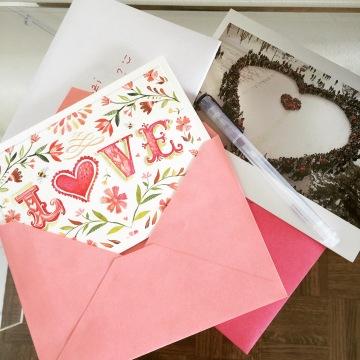Writing my Valentine's Day cards. Photo credit: Nisha K. Kulkarni